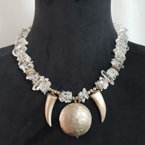 Jewelry - Clear Crystal Quartz And Silver BOHO Necklace